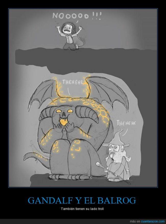 Balrog,dibuos,frodo,Gandalf,humor,película,señor de los anillos