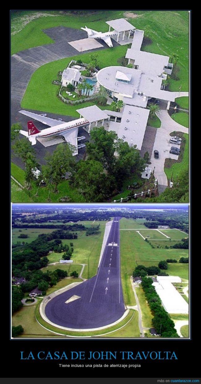 aterrizaje,avion,casa,famoso,John Travolta,mansion,piloto,pista