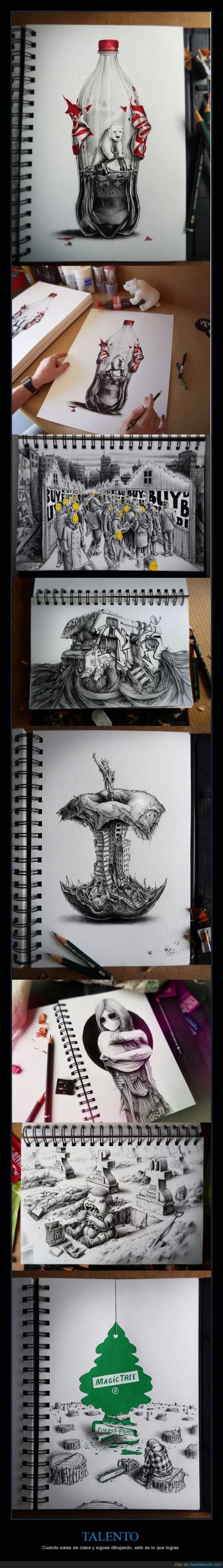 arte,cambio climatico,conciencia,dibujos,ilustracion,impresionante,libreta,talento