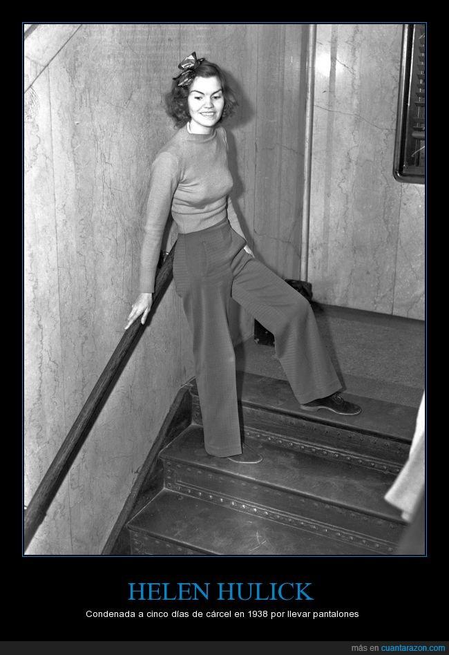 1938,cárcel,cinco días,condena,Helen Hulick,juzgado,ley,Los Ángeles,pantalones