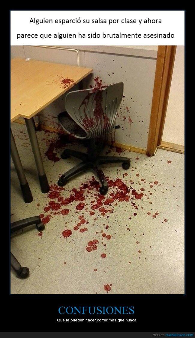 accidente,asesinato,clase,comida,confusion,derramar,error,huir,macha,miedo,salsa,sangre,silla
