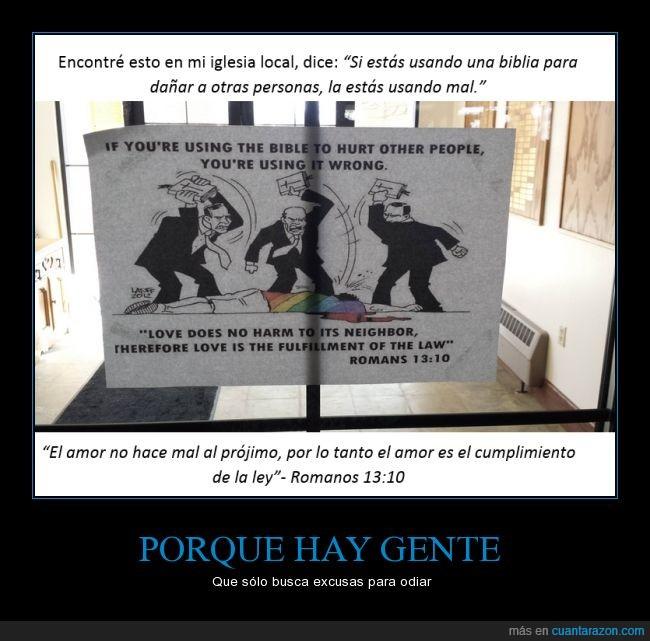 biblia,excusa,gente,herir,homo,homofobia,libro,odiar,pegar,usar