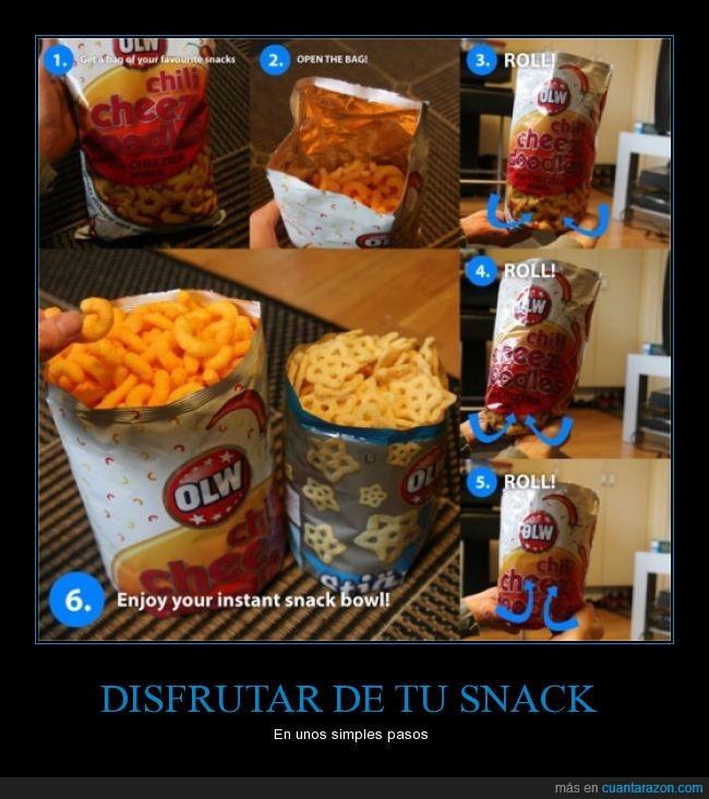 bolsa,dentro,enrollar,girar,life hack,menter,patatas,sin plato,Snack,truco