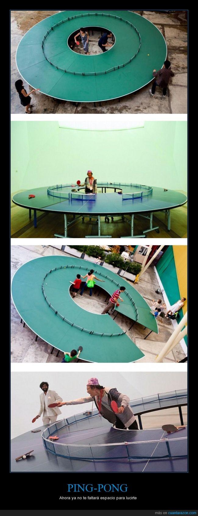 arte,exposición,interesante,jugar,la gente tiene mucho tiempo,mesa,mesa redonda,ping pong