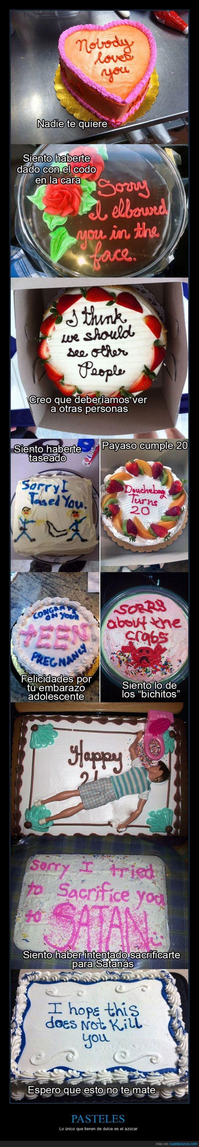 amor,cara,codo,comer,comida,cumpleaños,embarazo,matar,nadie,odio,pastel,quiere,satanas,tarta,taser