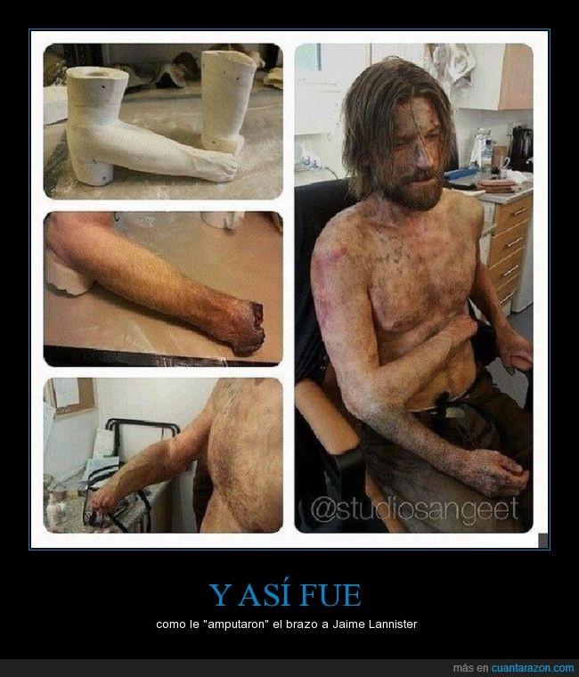 brazo,cortar,game of thrones,Jaime Lannister,juego de tronos,maquillaje,protesis