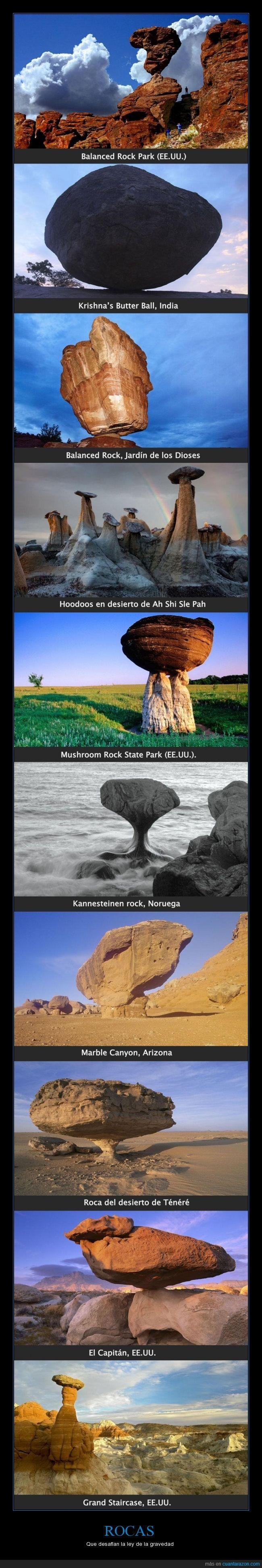 Arizona,Balanced Rock,Balanced Rock Park,desierto de Ah Shi Sle Pah,EE.UU.,El Capitán,El Capitán (el otro),equilibradas,Grand Staircase,Hoodoos,impresionantes,India,Jardín de los Dioses,Kannesteinen rock,Krishna's Butter Ball,maravillas de la naturaleza,Marble Canyon,Mushroom Rock State Park,Noruega,Roca del desierto de Ténéré,rocas