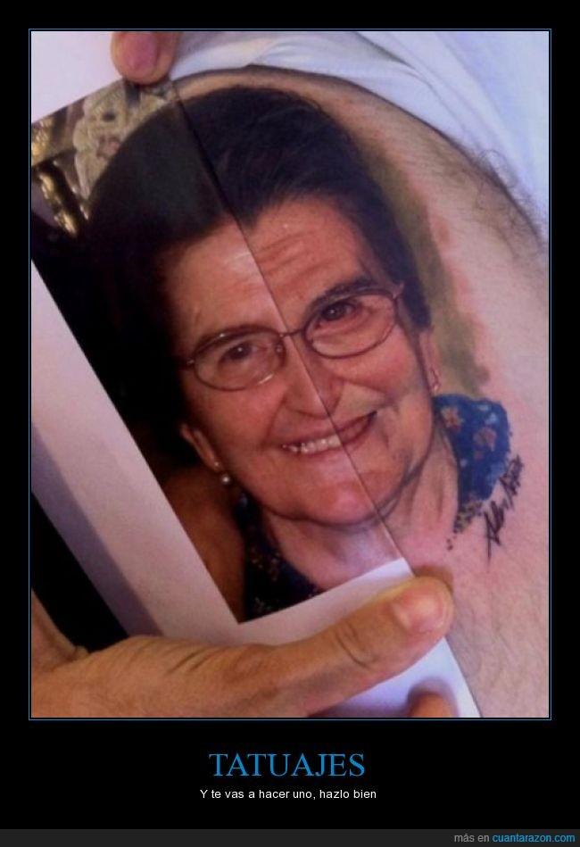 abuela,hiperrealista,igualito,señora,tatuaje