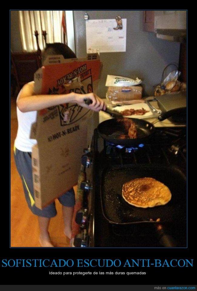 aceite,aprendiendo a cocinar,bacon,grasa,hola mama te necesito,pizza,quemar,saltar