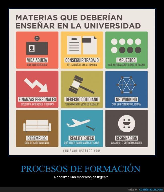 derecho,explicacion,finanza,impuesto,materia,networking,pelea interna,proceso de formacion,resignacion