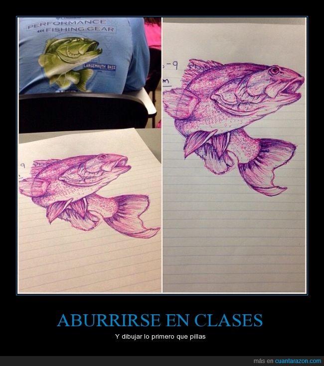 aburrido,aburrimiento,arte,artista,boligrafo,camiseta,clase,estampado,pescado,pez,realista