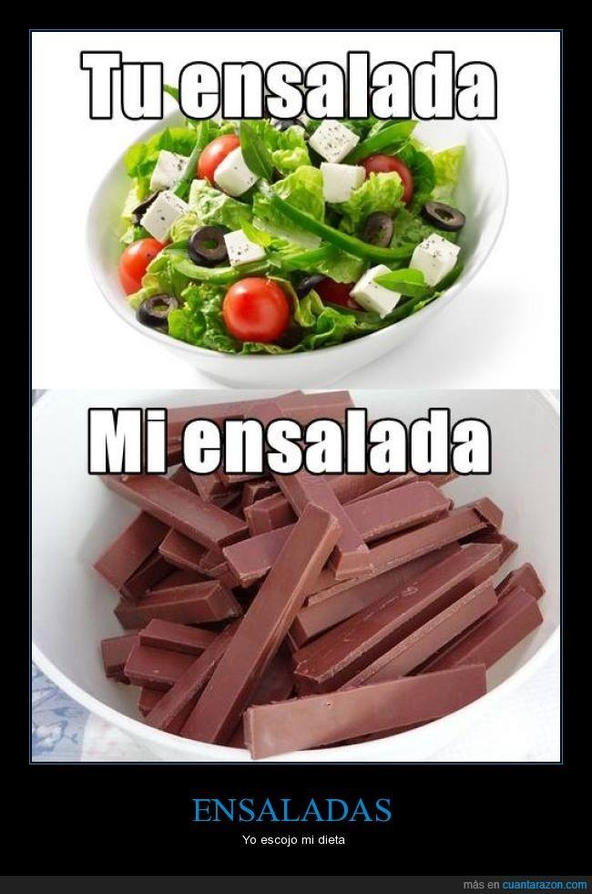 bol,chocolate,dieta,engordar,ensalada,kitkat,salud,sano,verdura