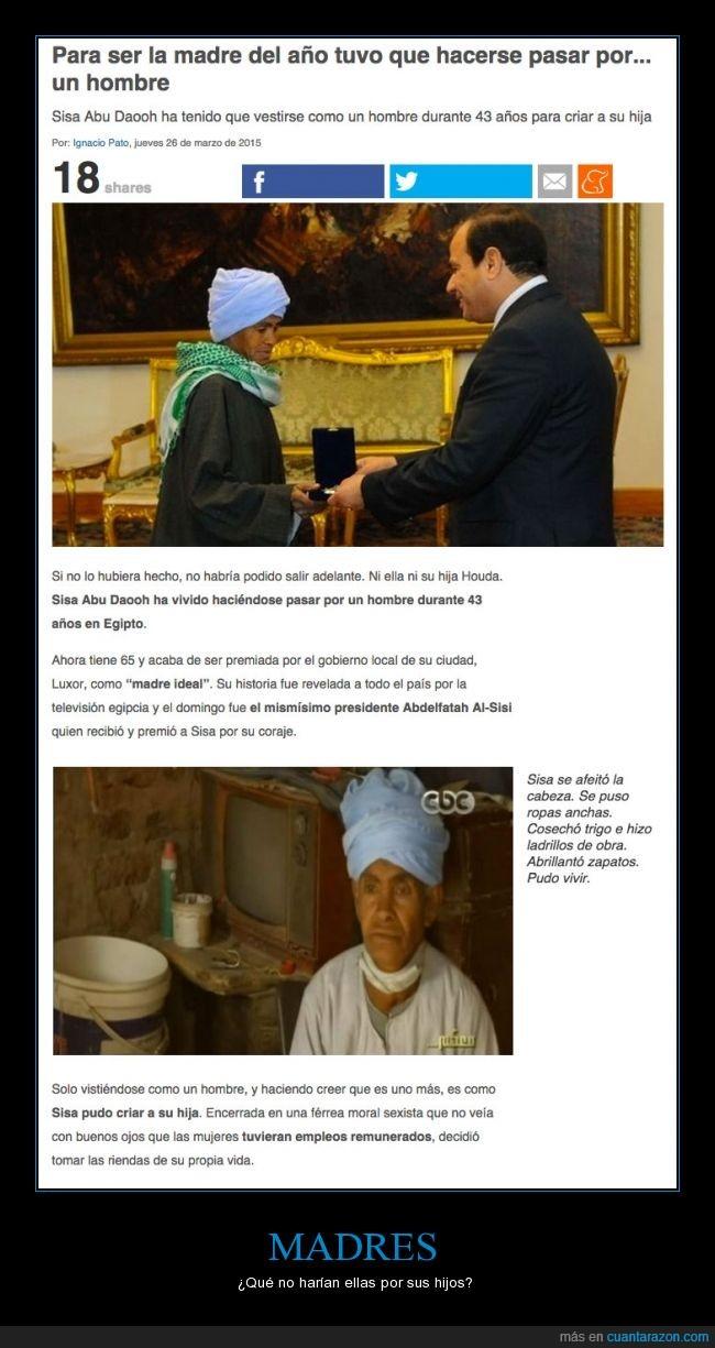 cobrar,difraz,egipcia,egipto,hombre,madre,remunerado,Sisa Abu Daooh,trabajo,vestir