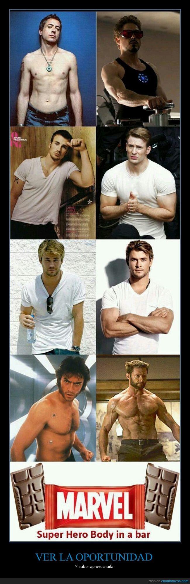 actores,cachas,Chocolates,chocolatinas,fuerte,Iron Man,Marvel,pectorales,superheroes,Thor,Wolverine