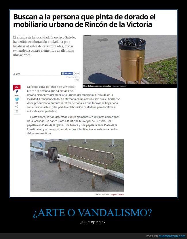 Bancos,Dorado,Fuentes,Málaga,Papeleras,Pintar,Pues el banco queda mejor sin graffitis,Rincón de la Victoria,¿vándalo?