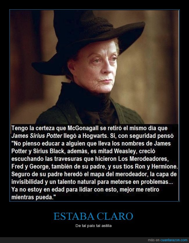 antes,capa,edad,Harry Potter,James Sirius Potter,liante,mapa,McGonagall,Minerva,problemas,retirar,retiro