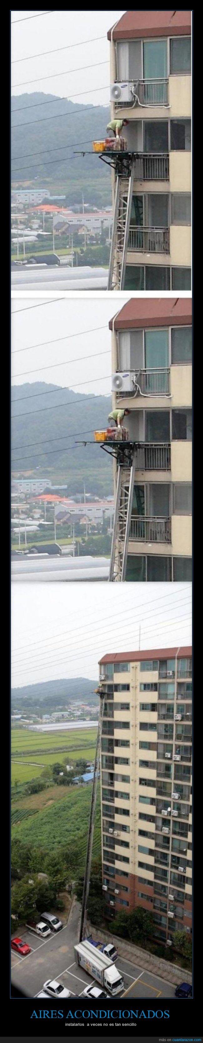 aire acondicioado,altura,edificio,escalera,mantenimiento,mini split