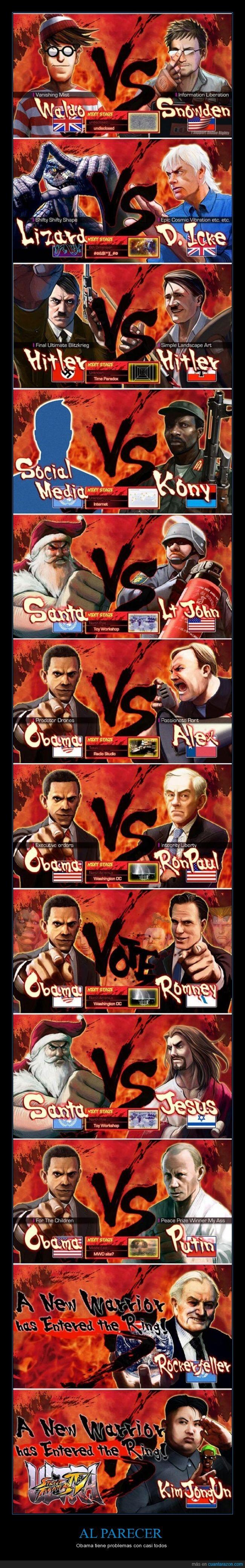 Kony,lucha,obama,presentacion,putin,Real world fighter,Street Fighter,y Ghandi donde carajo a esta Ghandi