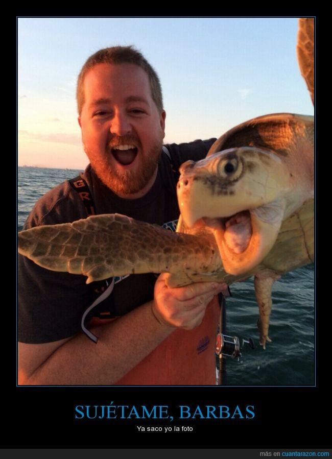 barba,foto,la tortuga está de vuelta en el agua para aquellos que lloren,mar,selfie,sonrisa,tortuga