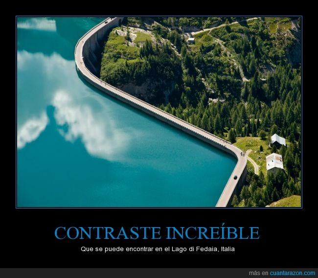 agua,azul,contraste,fedaia,italia,lago,paisaje,presa,verde
