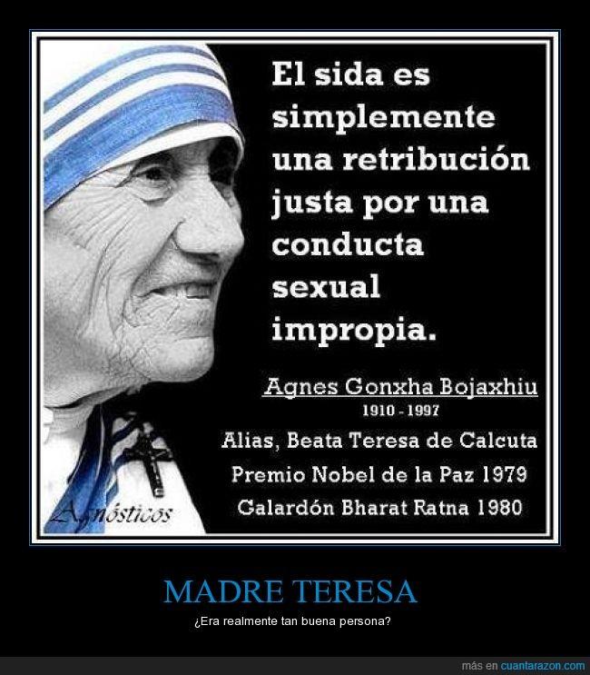 Calcuta,castigo,conducta,impropia,Madre Teresa,retribucion,sida,vih