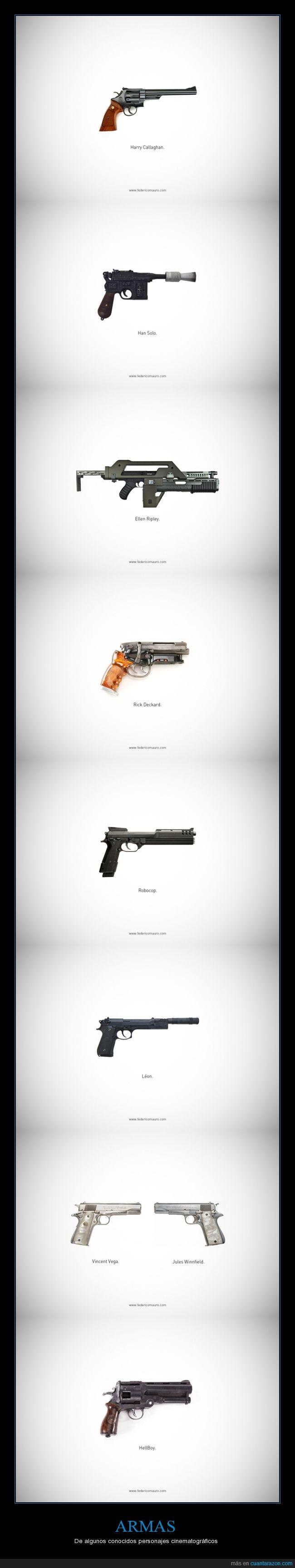 armas,Ellen Ripley,famosos,Han Solo,Harry Callaghan,Hellboy,Jules Winfield,leon,pistolas,Rick Deckard,Robocop,Vincent Vega