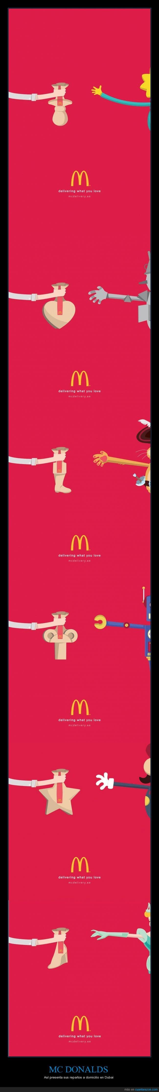 amar,amor,delivery,Dubai,Maggie,Mario,McDonald's,Publicidad,repartir,Reparto