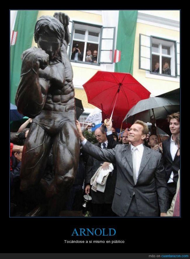 Arnold Schwarzenegger,broma,estatua,joven,mismo,público,tocar