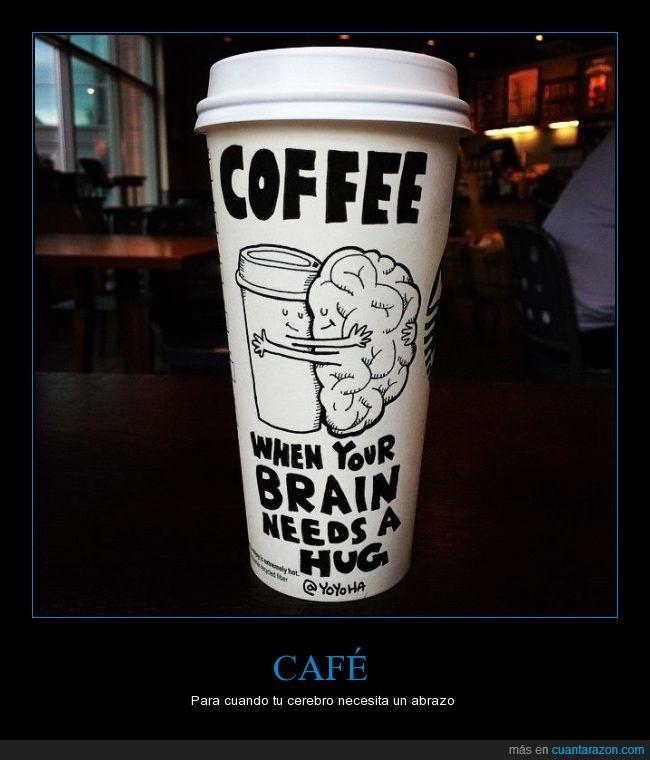 abrazol,café,cerebro,dibujos,humor,publicidad,vaso