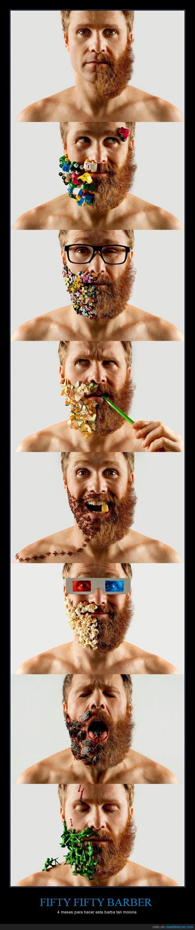 barba,bicho,cereales,cucaracha,juguete,mitad,muñeco,palomitas