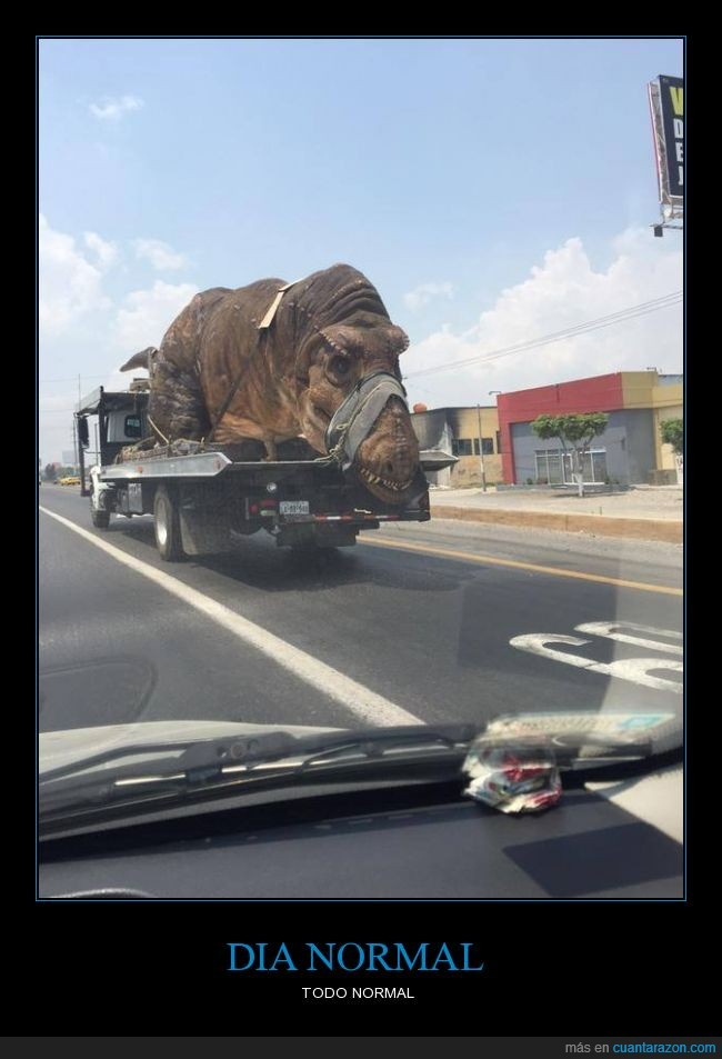 acelerar,carretera,coche,día,dinosaurio,miedo,normal,t-rex