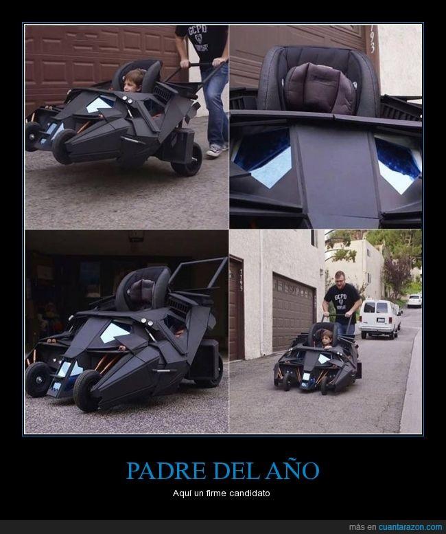 batmóvil,carrito,carro,hijo,juguete,niño,padre