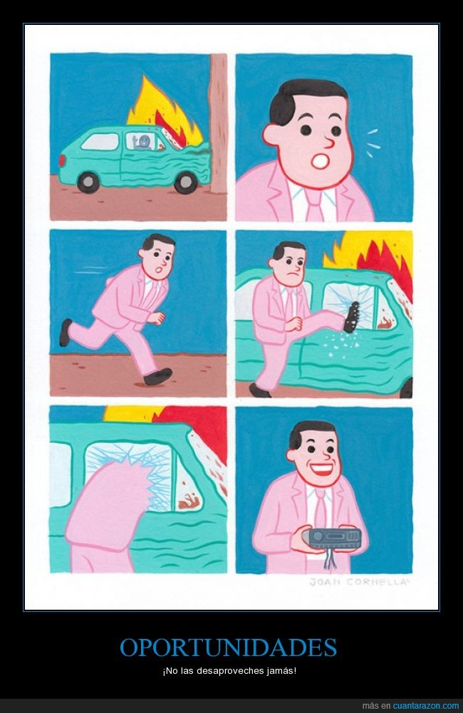 accidente,coche,feliz,fuego,Joan Cornellà,radio,reconfortante sonrisa,robar,robo,salvar