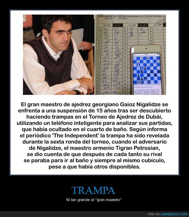 ajedrez,baño,Dubai,Gaioz Nigalidzze,smartphone,Tigran Petrosian,trampa