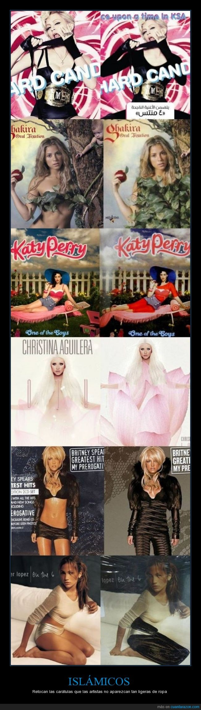 Britney Spears,caratula,carne,CD,Christina Aguilera,islam,islamico,Jennifer Lopez,Katy Perry,Madonna,portada,religion,Shakira,tapada,tapar