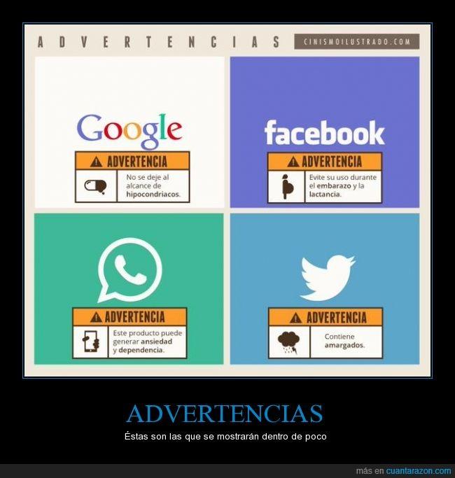 advertencia,facebook,google,internet,redes,twitter,whatsapp