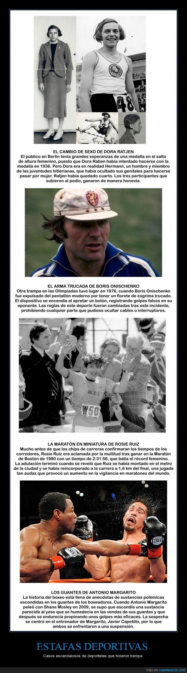 1936,1976,1980,2009,Antonio Margarito,Boris Onischenko,Box,Dora Ratjen,maraton de Boston,metro,olimpiadas,pentatlón moderno,Rosie Ruiz,salto de altura,Shane Mosley,yeso