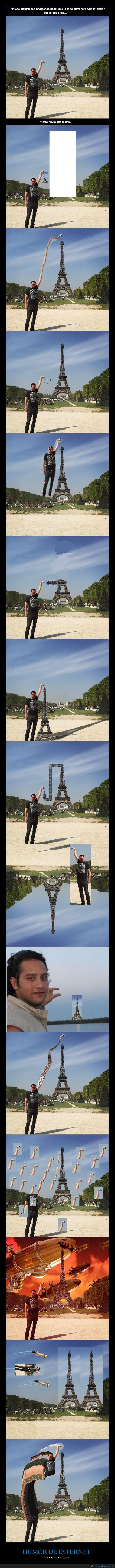 Absurdo,chops,francia,Hay quienes nunca aprenderán,Humor,Internet,paris,pedir,photoshop,Torre Eiffel,troll