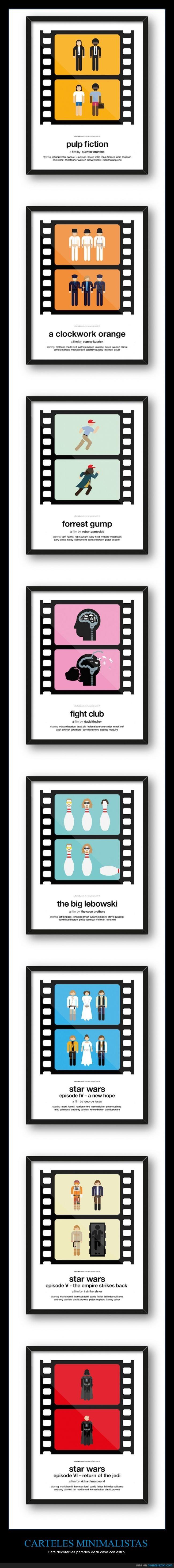cartel,El club de la lucha,El gran lebowsky,Forrest Gump,fotograma,La naranja mecánica,minimalista,pelicula,Pulp Fiction,Star Wars,Viktor Hertz