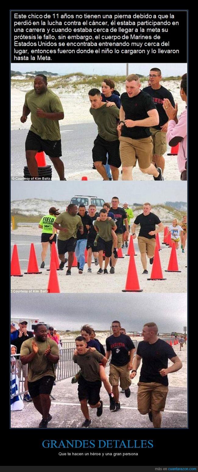 ayudar,cancer,correr,el chaval fue campeon,ganador,ganar,marine,pierna,protesis,salvar,soldado