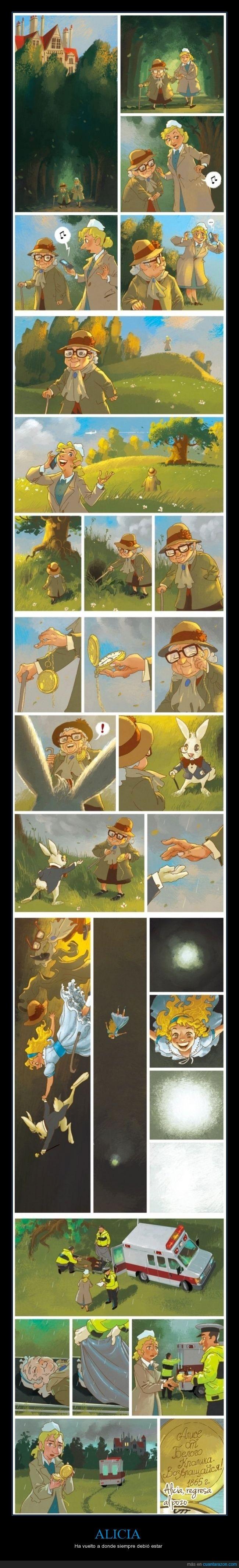 alicia,alicia en el pais de las maravillas,alicia retorna al pozo,conejo,muerte,reloj,ruso