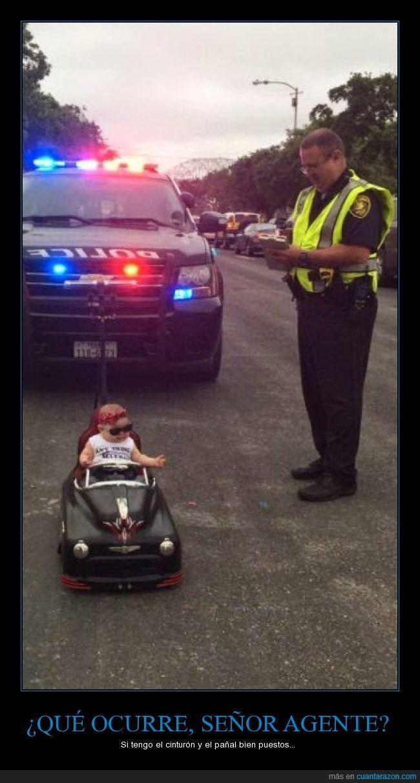 bebe,carro,cinturon,coche,juguete,multa,niño,policía,sanción