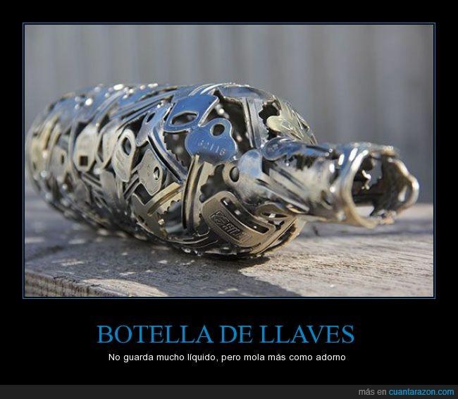 arte,artesanía,botella,escultura,forjar,llaves