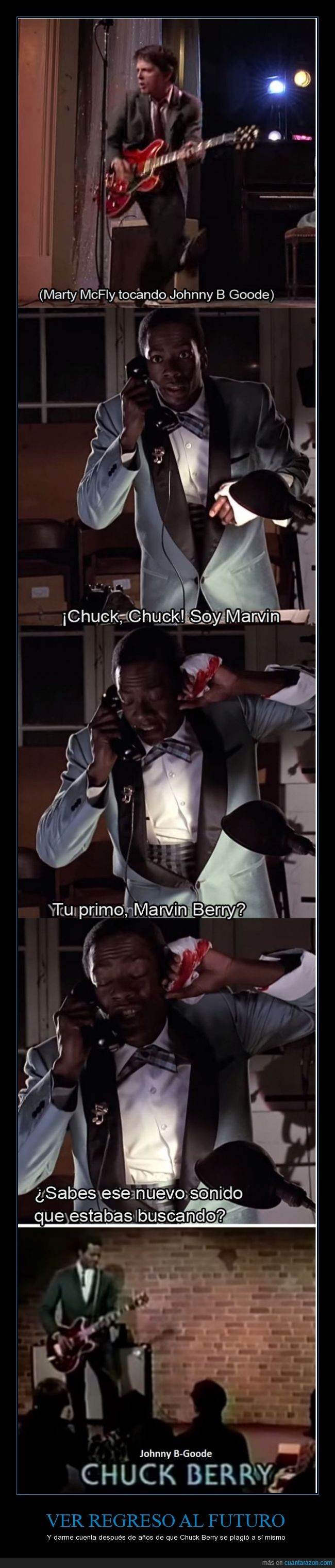 Chuck Berry,https://www.youtube.com/watch?v=S1i5coU-0_Q,Johnny B. Goode,Marty McFly,Michael J. Fox,Primo Marvin Berry,regreso al futuro