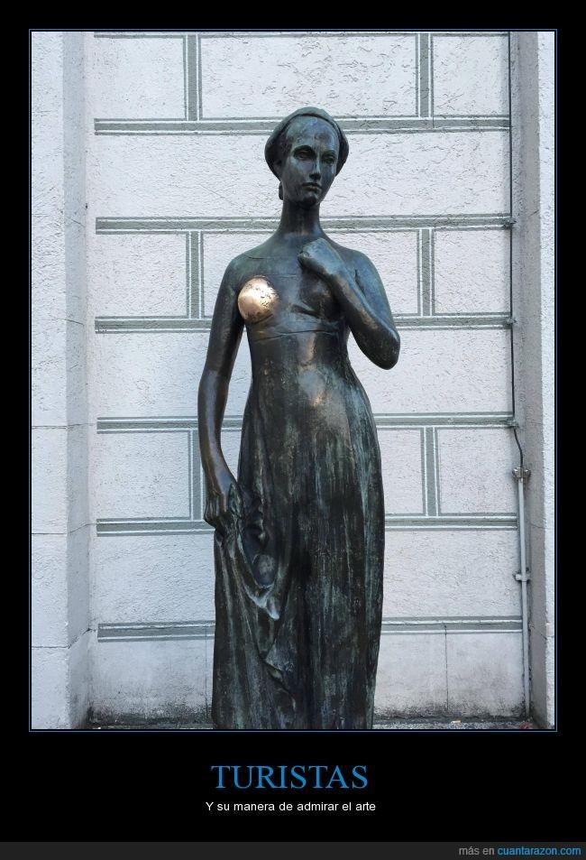 arte,brillante,desgastado,desgaste,estatua,figura,mirar,pulido,roce,toca,tocar,turista