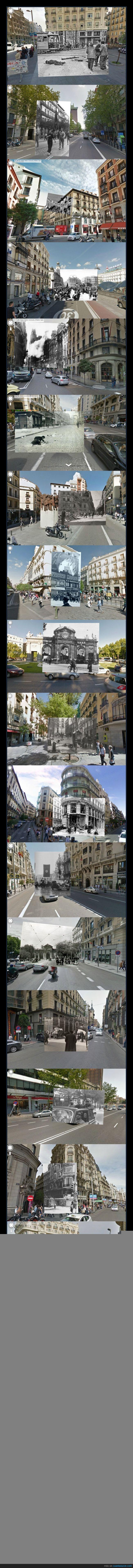 ahora,antes,Google Street View,Guerra Civil,madrid,montaje
