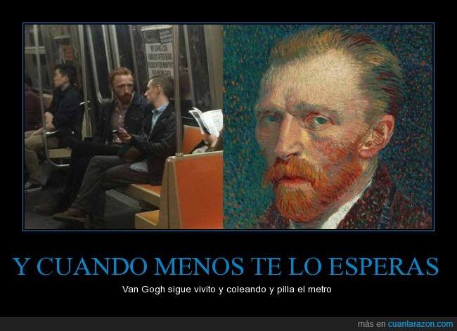 hombre,metro,parecido,pelirrojo,publico,transporte,tren,Van Gogh