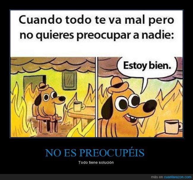 cuando tienes problemas lo unico que consigues es mas problemas,estoy bien,falso,incendio,llamas,mal,perro,preocupar