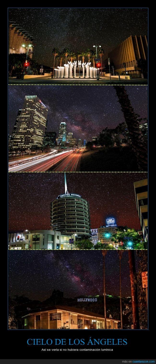 cielo,constelaciones,contaminación,estrellas,Hollywood,la havanna,los ángeles,noche,nocturno
