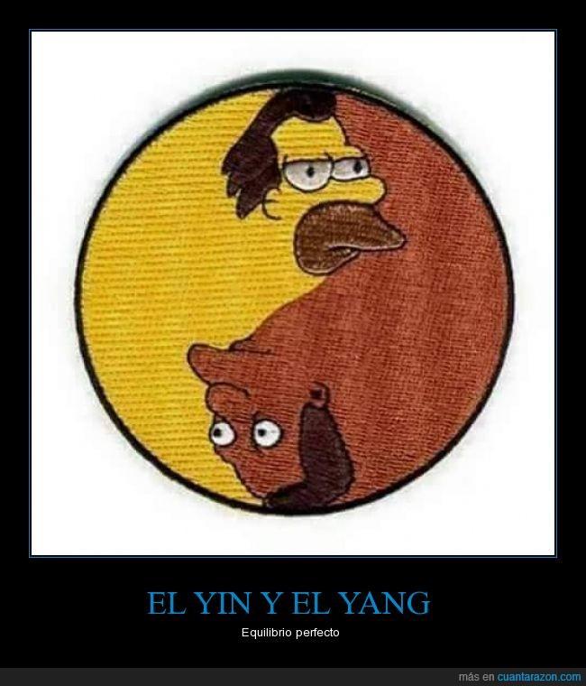 Carl,equilibrio,humor,Lenny,personajes,Simpson,yin yang,yinyang